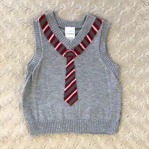 Gymboree Sweater Vest Red Tie 3-6 Months Stripes